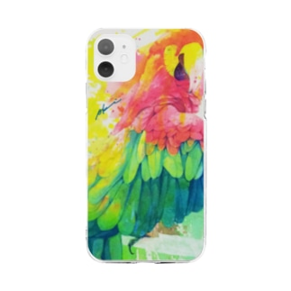AKI ONLINE SHOPのひとり美しい赤い鳥 Soft clear smartphone cases