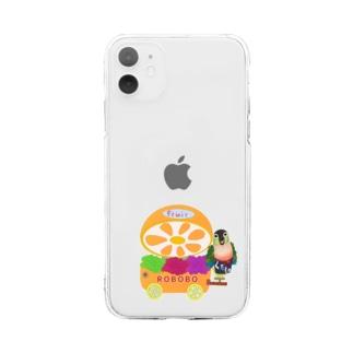 ROBOBO 果物屋さん Soft clear smartphone cases