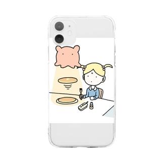 メンダコlovesパンケーキ Soft clear smartphone cases