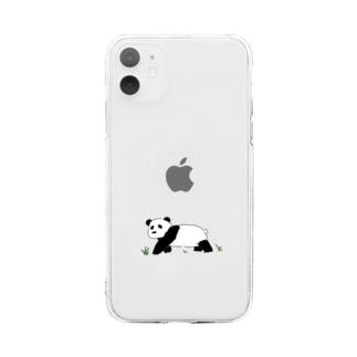 やさしいパンダ Soft clear smartphone cases