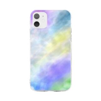 雨の日の記憶 #パープル・グレージュ Soft clear smartphone cases