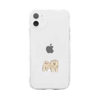 ふわふわ犬 Soft clear smartphone cases