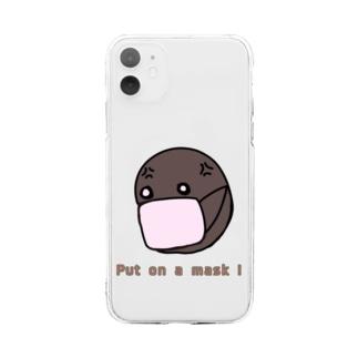 nyanchu08023の潔癖 ゾンビ マスク編 Soft clear smartphone cases
