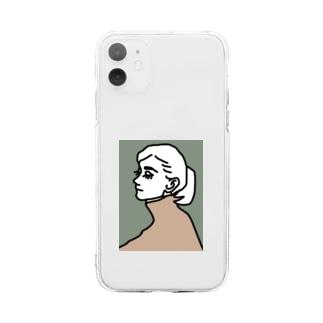 女の人 横顔 Soft clear smartphone cases