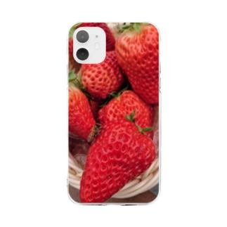 イチゴとミツバチ Soft clear smartphone cases