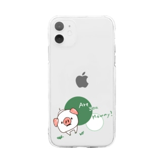 cococotto20のコブタちゃんの『あーゆーまみー?』 Soft clear smartphone cases