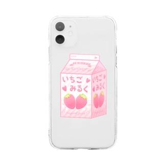 いちごみるく Soft clear smartphone cases