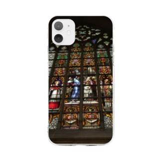 ステンドグラス2 Soft clear smartphone cases