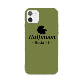 Halfmoon Betta⑤Black(Mossgreen) Soft clear smartphone cases