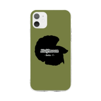 Halfmoon Betta①Black(Mossgreen) Soft clear smartphone cases