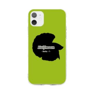 Halfmoon Betta①Black(Springgreen) Soft Clear Smartphone Case