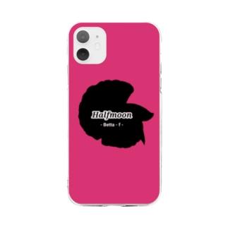 Halfmoon Betta①Black(Azalee) Soft Clear Smartphone Case