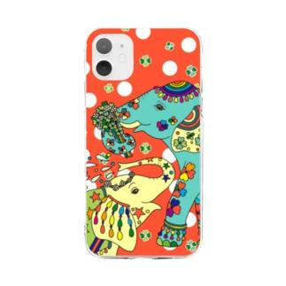ゾウと四つ葉クローバー(赤) Soft clear smartphone cases