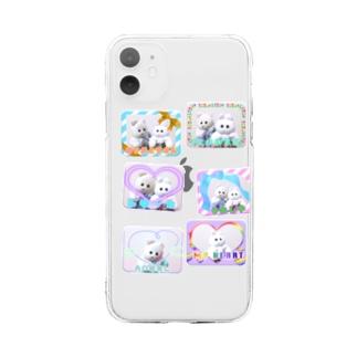 RAITYO TSUMEのくまきちしーる貼ったよ Soft clear smartphone cases