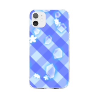 青チェック Soft clear smartphone cases