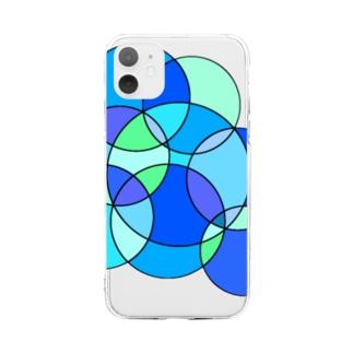 夏のステンドグラス Soft clear smartphone cases