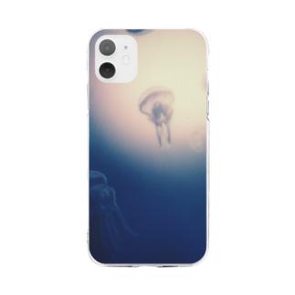 月夜の海月 Soft clear smartphone cases