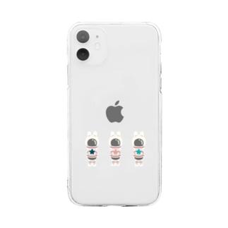 宇宙戦士ウサ 気まぐれpink Soft clear smartphone cases