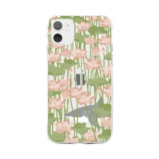 蓮を泳ぐ御池のサメさん Soft clear smartphone cases