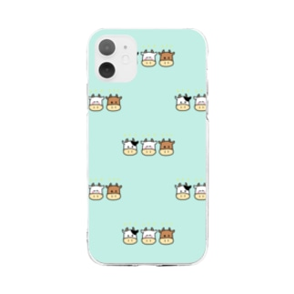 うし、みっつです Soft clear smartphone cases