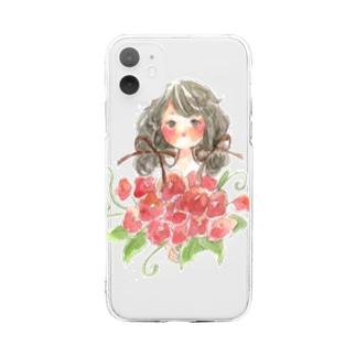 花と少女 Soft clear smartphone cases