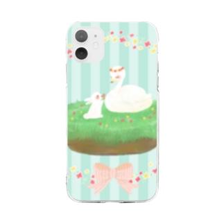 たかどのみこと🕊のうさぎちゃんとスワンちゃん Soft clear smartphone cases