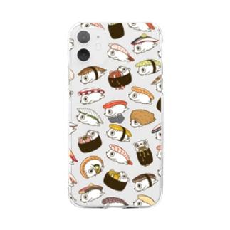 寿司のシャリネズミ(おまかせ) Soft clear smartphone cases