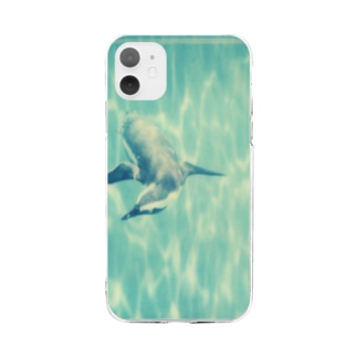 Petrichorの飛ぶペンギン Soft clear smartphone cases