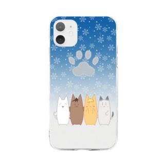 まるねこ 冬 Soft clear smartphone cases