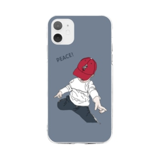 saku bluegray2 Soft clear smartphone cases