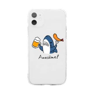 ビールとエビフライとサメ 色付きVer. Soft clear smartphone cases