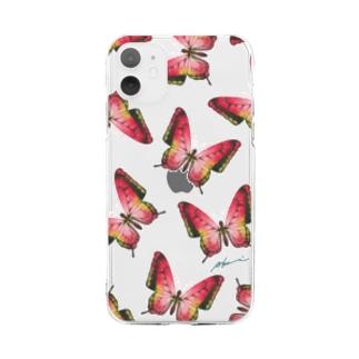 日曜生まれの赤い蝶々 Soft clear smartphone cases