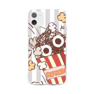 *suzuriDeMonyaa.tag*のCT92 もじゃもじゃ★ぱっふんのポップコーン Soft clear smartphone cases