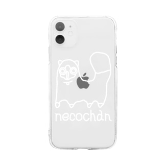 neco chan 白 Soft clear smartphone cases