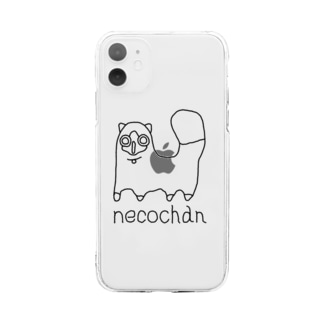 neco chan 黒 Soft clear smartphone cases