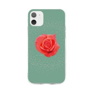 アランさんの赤いバラ Soft clear smartphone cases