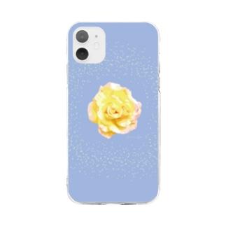 アランさんの黄色いバラ Soft clear smartphone cases