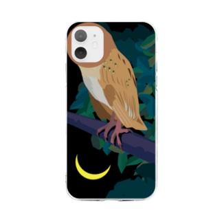 フクロウはアタマがよく動く/iPhone 11推奨 Soft clear smartphone cases