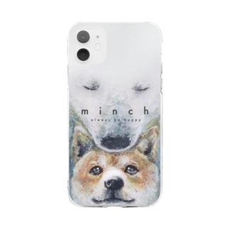 しろくましばいぬ Soft clear smartphone cases