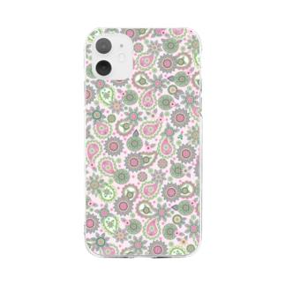 ペーズリー_ピンク Soft clear smartphone cases