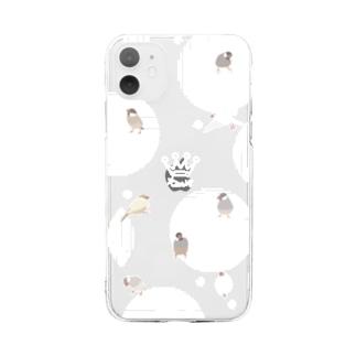 文鳥さんスマホカバー 透明 Soft clear smartphone cases