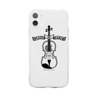 バイオリン/Peace on Earth黒 Soft clear smartphone cases