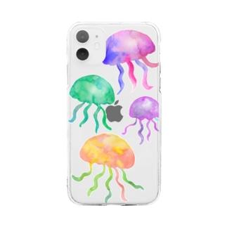 透明水彩クラゲのiphoneケース Soft clear smartphone cases