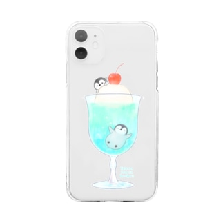 クリームソーダとペンギン(ロゴ入り) Soft clear smartphone cases