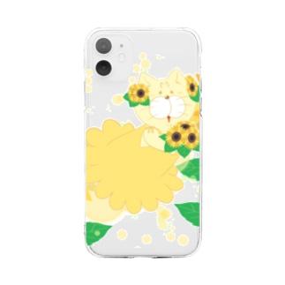 夏だよ!ひまわりの妖精 Soft clear smartphone cases