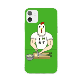 【背景ミドリ】 ひたすらネギを切るニワトリ男 Soft clear smartphone cases