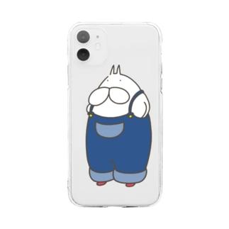 ねこタイツ サロペット Soft clear smartphone cases