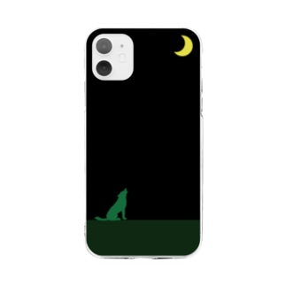moon & green wolf Soft clear smartphone cases