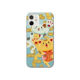 招きネコネコ Soft clear smartphone cases