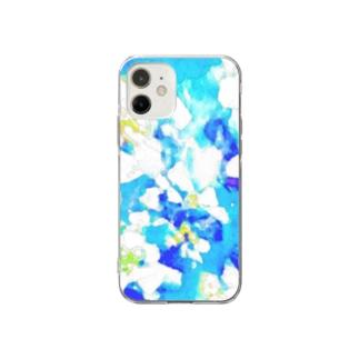アオ ト シロ ノ ハナ Soft clear smartphone cases
